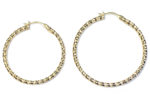 Hoop Earrings (Fancy Diamond Cut) 14K