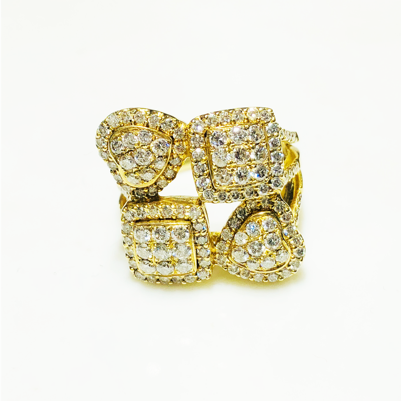 Iced-Out Hearts and Squares Diamond Ring 14K Yellow Gold