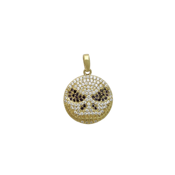 Jack Skellington Face Iced Pendant (14K) front - Popular Jewelry - New York