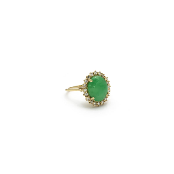 Jade Oval Diamond Halo Ring (14K) diagonal - Popular Jewelry - New York