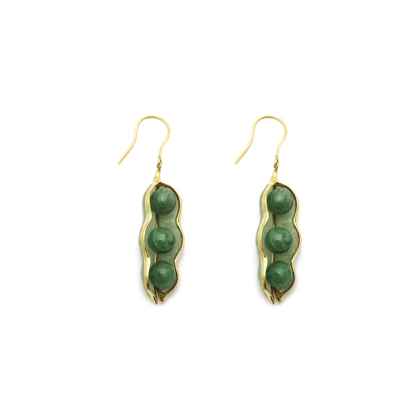 Jade Peapod Hanging Earrings (14K) front - Popular Jewelry - New York