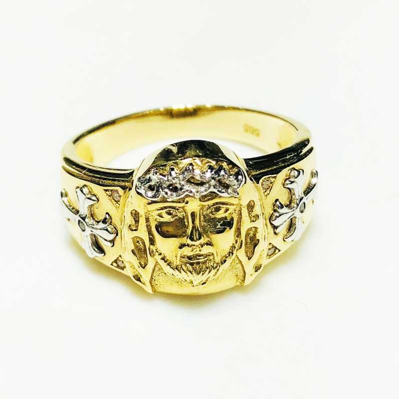 Jesus Head Crown Ring 14K Yellow Gold