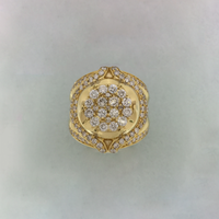 Majestic Flower Diamond Ring 14K giel goud
