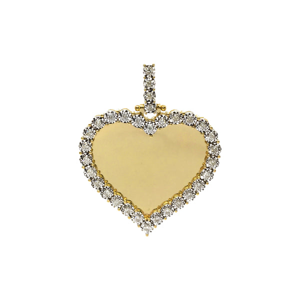 Diamond Invisible Heart Memorial Picture Pendant (10K) (14K) front - Popular Jewelry - New York