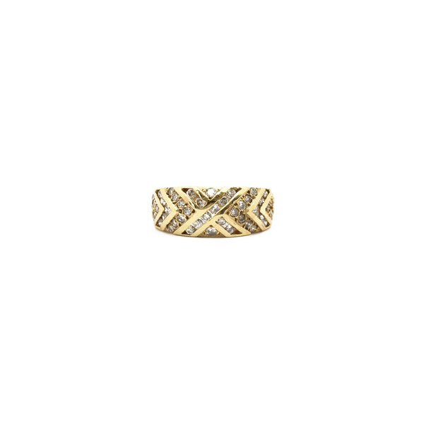 Multi-Diamond Crossover Ring (14K) front - Popular Jewelry - New York