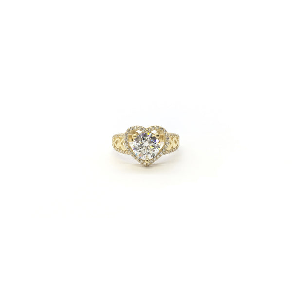 Round CZ Heart Halo (14K) front - Popular Jewelry - Nûyork