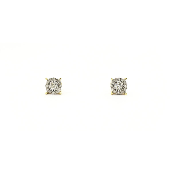 Round Diamond Halo Stud Earrings (14K) front - Popular Jewelry - New York