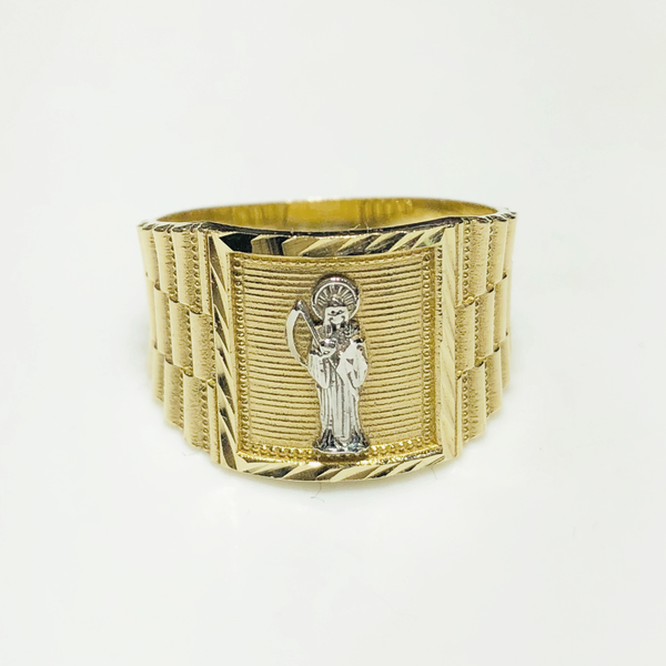 Anillo Santa Muerte de diamantes y corte Rolex (14K) - Popular Jewelry