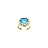 Sky Blue Heart CZ Halo Ring (14K) front - Popular Jewelry - New York