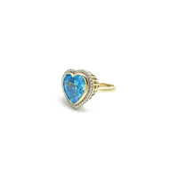 Sky Blue Heart CZ Halo Ring (14K) side - Popular Jewelry - New York