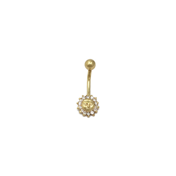 Sun CZ Navel Ring (14K) avant - Popular Jewelry - New York