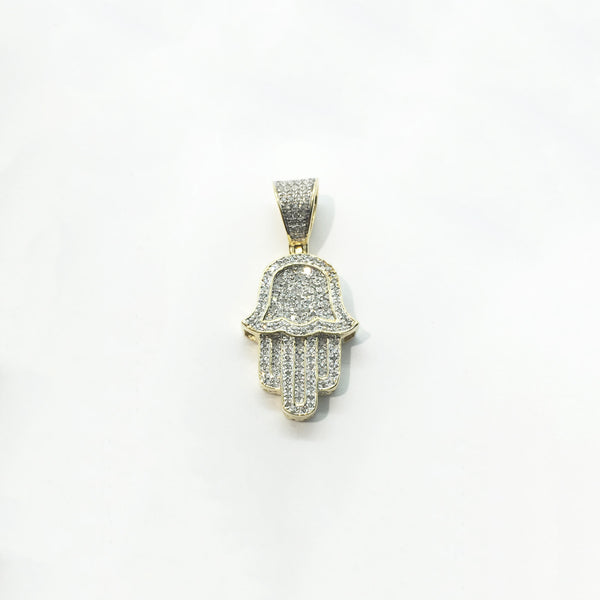Teksturowany wisiorek Hamsa Diamond Iced-Out (14K)
