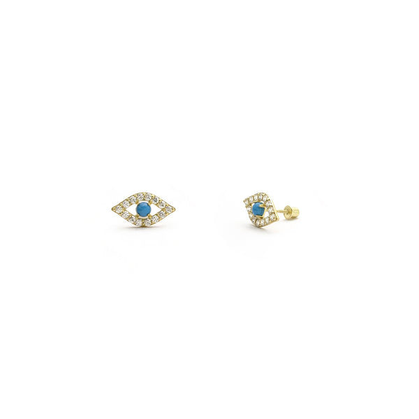 Cercei turcoaz Evil Eye CZ Stud galben (14K) principal - Popular Jewelry - New York