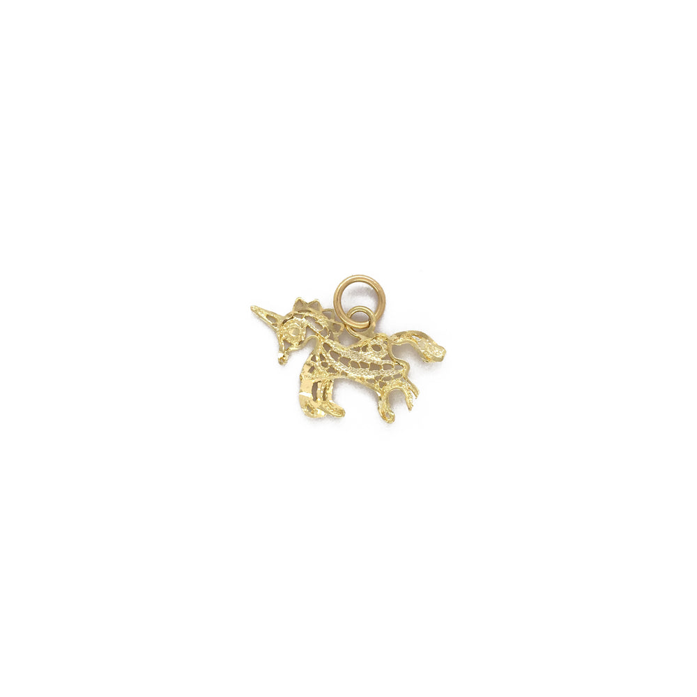 Solid 14k Yellow Gold Round Aries Zodiac Sign Cut-Out Ram Head Pendant with Cuban Chain Necklace