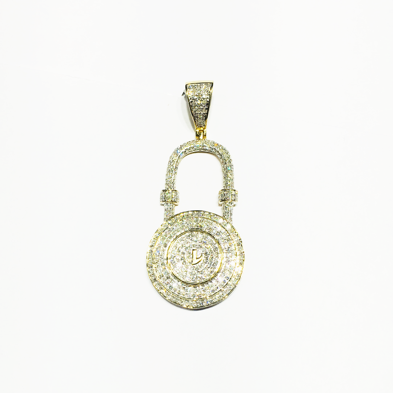 Padlock Diamond Iced-Out Pendant 14K Yellow Gold