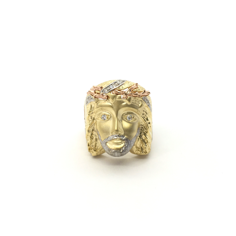 products/585_14_karat_Tri-Color_Gold_Crown_of_Thorns_Jesus_Head_Cubic_Zirconia_Ring_front_angle_view_web_product_Popular_Jewelry_New_York.png