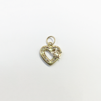 Heart Frame and Star CZ Pendant (14K) front - Popular Jewelry - New York