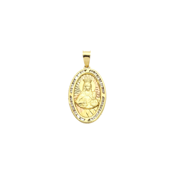 Saint Barbara CZ Oval Pendant (14K) front - Popular Jewelry - New York