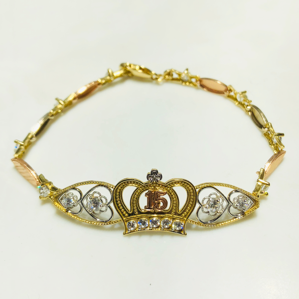 Quinceañera Tri-Color Bracelet (14K) - Popular Jewelry