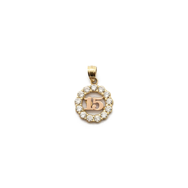 Fifteen Quinceanera CZ Framed Pendant (14K) front - Popular Jewelry - New York