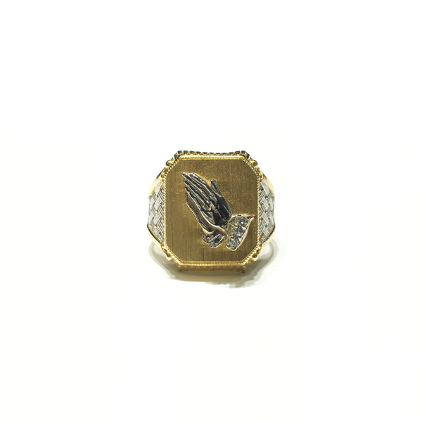 Praying Hands Signet Ring (14K) front - Popular Jewelry - New York
