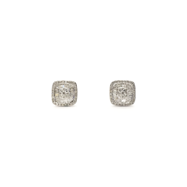 Baguette and Round Diamond Cluster Stud Earrings (14K) front - Popular Jewelry - New York