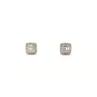 Baguette and Round Diamond Square Stud Earrings (14K) front - Popular Jewelry - New York