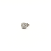 Baguette and Round Diamond Square Stud Earrings (14K) side - Popular Jewelry - New York