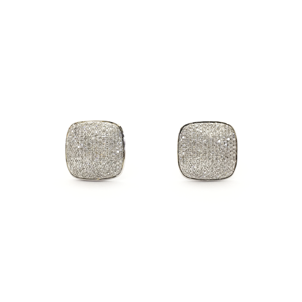 Diamond Cluster Cushion Stud Earrings (14K) front - Popular Jewelry - New York