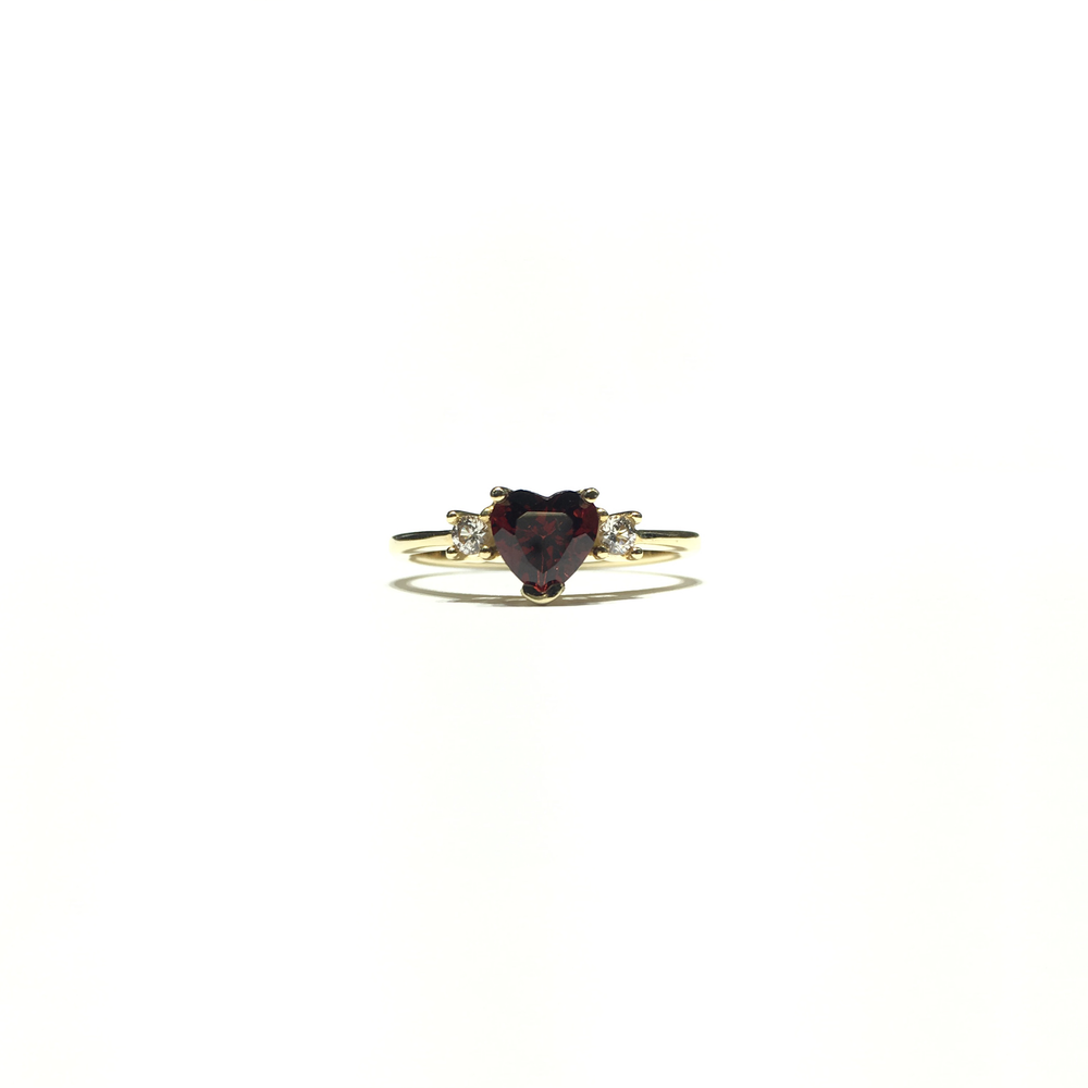Blood Red Heart CZ Three Stone Ring (14K) front - Popular Jewelry - New York