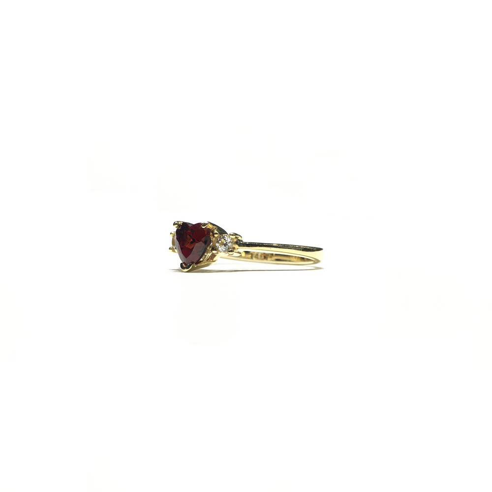 Blood Red Heart CZ Three Stone Ring (14K) side - Popular Jewelry - New York