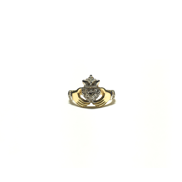Claddagh CZ Ring (14K) front - Popular Jewelry - New York