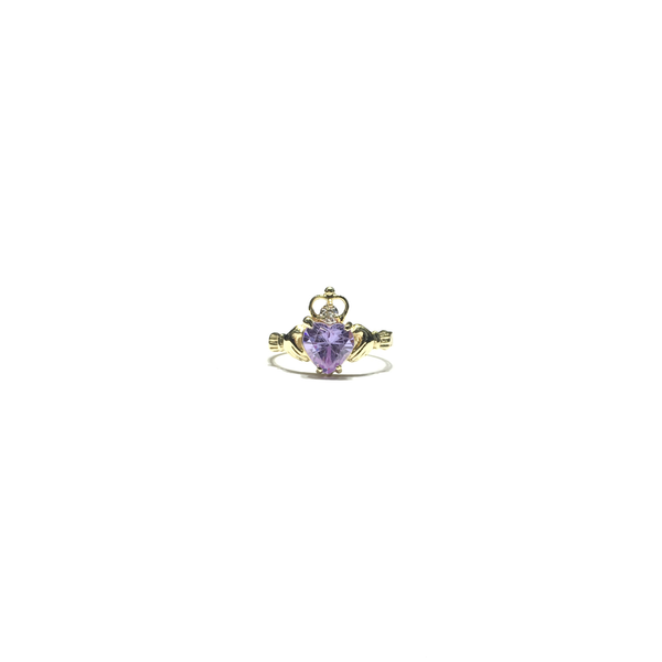 Anello CZ con cuore viola chiaro Claddagh (14K) anteriore - Popular Jewelry - New York