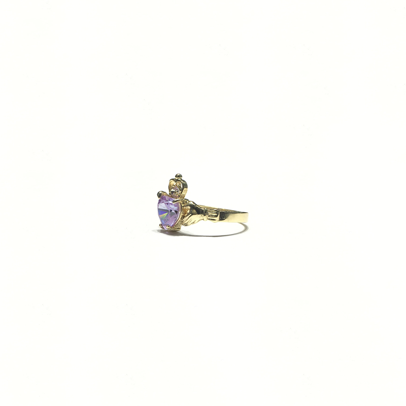 Claddagh Light Purple Heart CZ Ring (14K) side - Popular Jewelry - New York