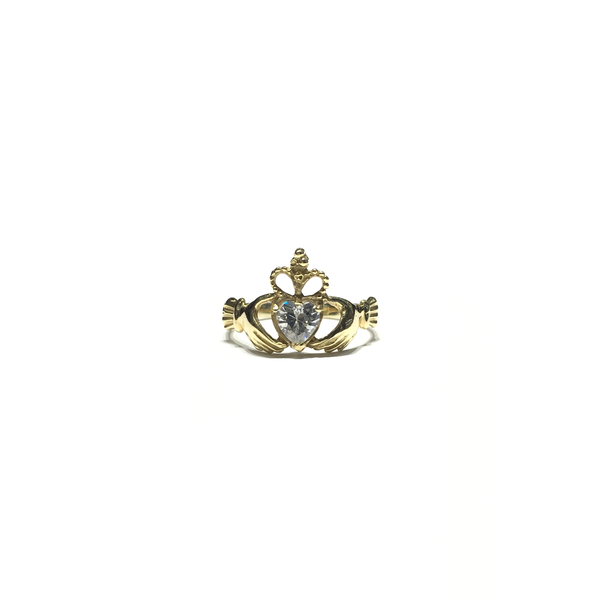 Anello Claddagh bianco CZ (14K) anteriore - Popular Jewelry - New York
