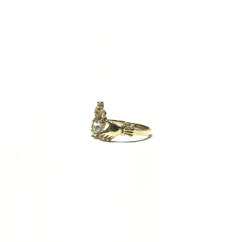 Claddagh White CZ Ring (14K) side - Popular Jewelry - New York