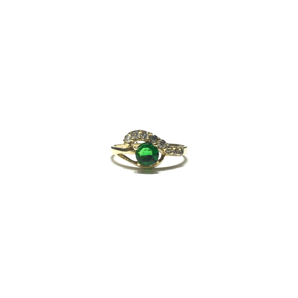 Dark Green Eye CZ Ring (14K) front - Popular Jewelry - New York