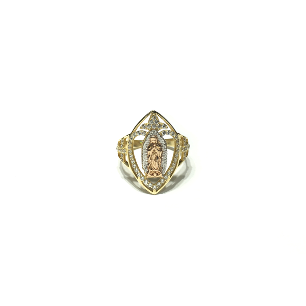 Qalb Oval ta 'Guadalupe CZ Ring (14K) quddiem - Popular Jewelry - New York