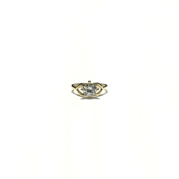 Heart Side Pattern 4 Prongs CZ Baby Ring (14K) face - Popular Jewelry - New York