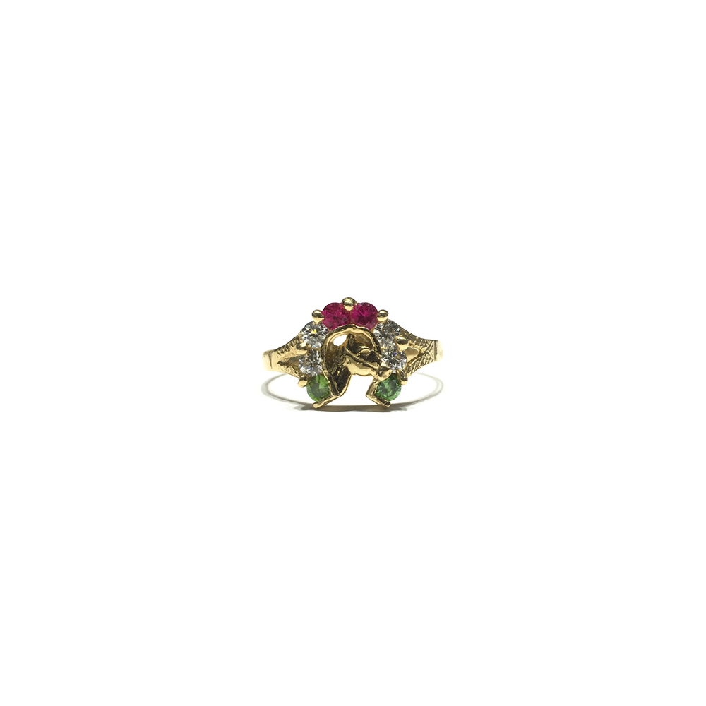 Horseshoe Triple-Color CZ Ring (14K) front - Popular Jewelry - New York