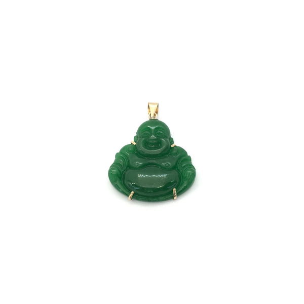 Jade Buddha Pendant (14K) front - Popular Jewelry - New York
