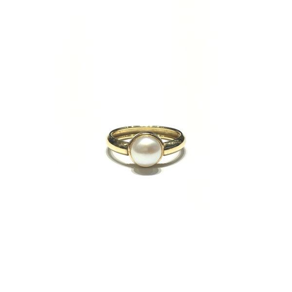 Pearl Solitaire Ring (14K) front - Popular Jewelry - New York