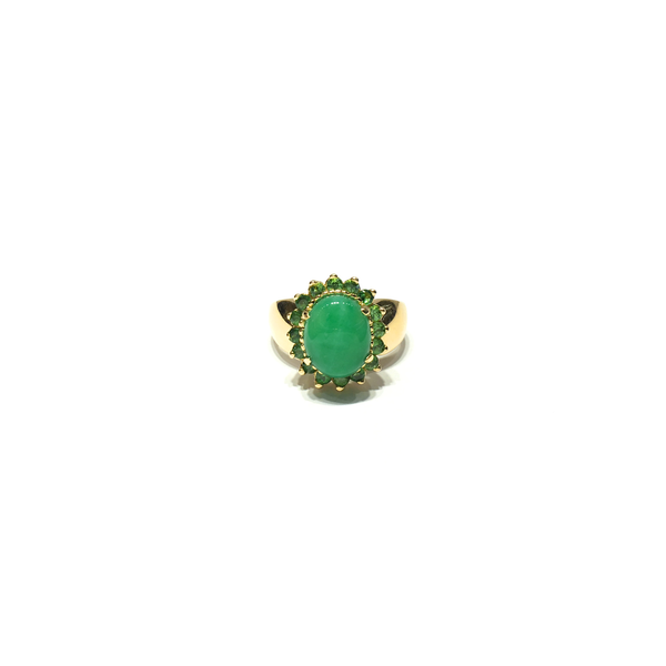 Peridot and Jade Halo Cocktail Ring (14K) front - Popular Jewelry - New York