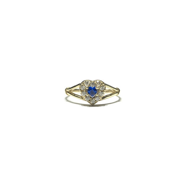 Petite Bordered Dark Blue Heart CZ Ring (14K) front - Popular Jewelry - New York