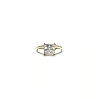 Princess CZ Solitaire Ring front - Popular Jewelry - New York