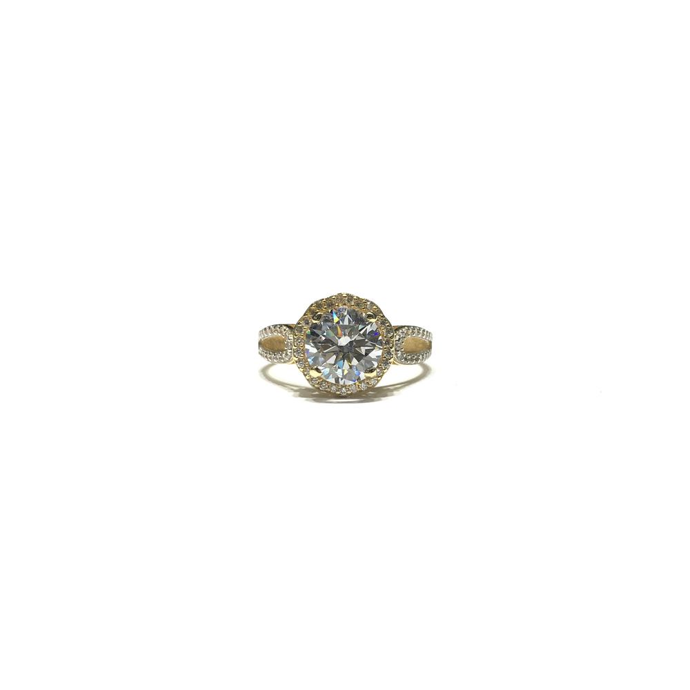 Round CZ Halo Entwined Ring (14K) front - Popular Jewelry - New York