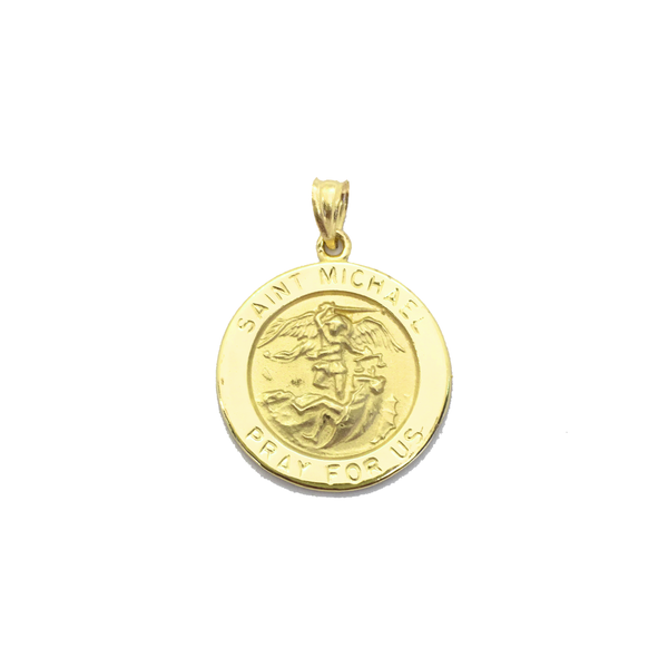 Saint Michael Medal medium Pendant (14K) front - Popular Jewelry - New York