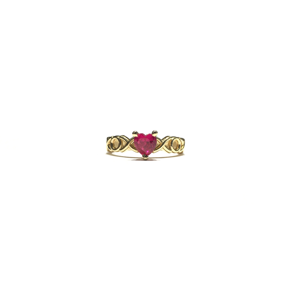 XOX Pink Red Heart CZ Ring (14K) front - Popular Jewelry - New York
