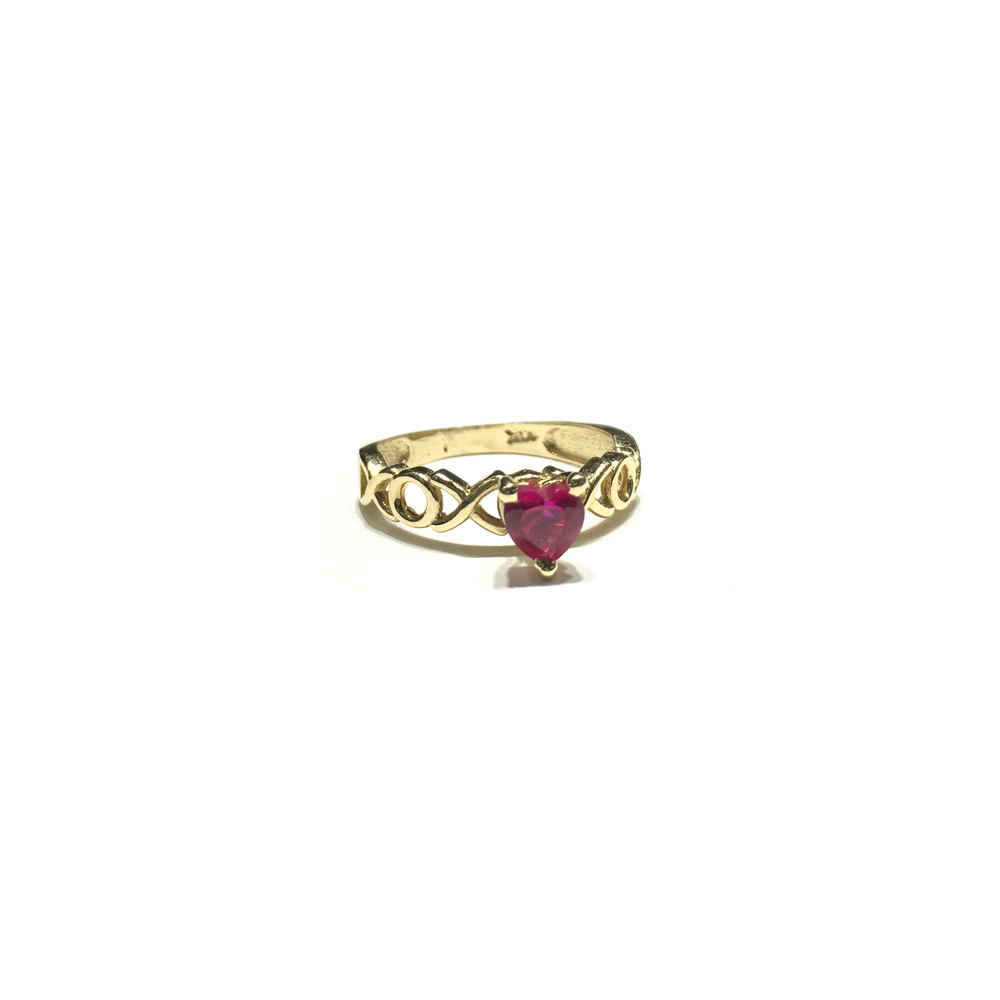 XOX Pink Red Heart CZ Ring (14K) side - Popular Jewelry - New York
