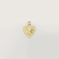 Baby Jesus Diamond Cut Heart Shaped Pendant (14K) - Popular Jewelry New York